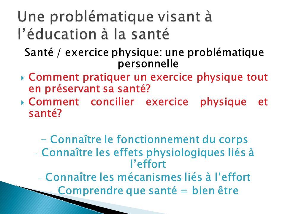 Une problématique visant à l'éducation à la santé
