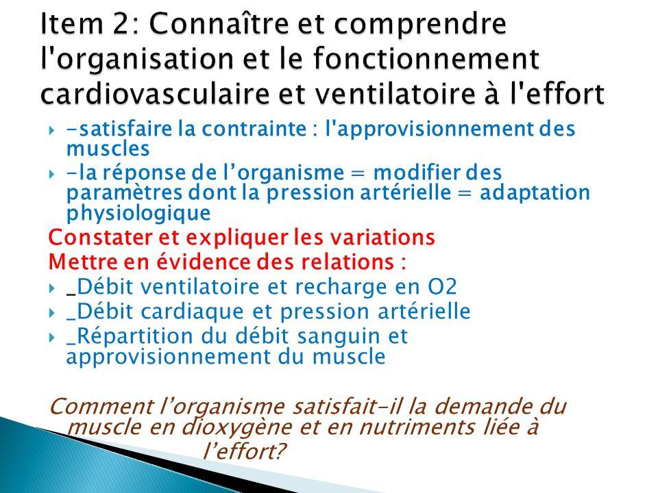 Item 2: Connaître et comprendre l organisation et le fonctionnement cardiovasculaire et ventilatoire à l effort