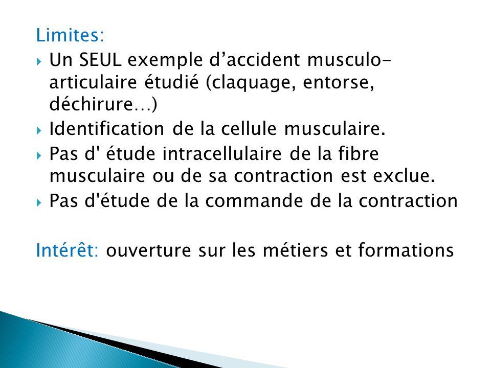 Limites: Un SEUL exemple d'accident musculo- articulaire étudié (claquage, entorse, déchirure…) Identification de la cellule musculaire.