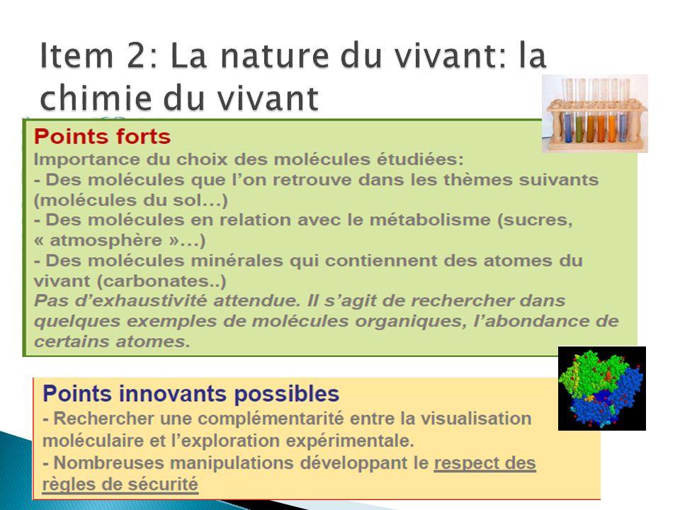 Item 2: La nature du vivant: la chimie du vivant
