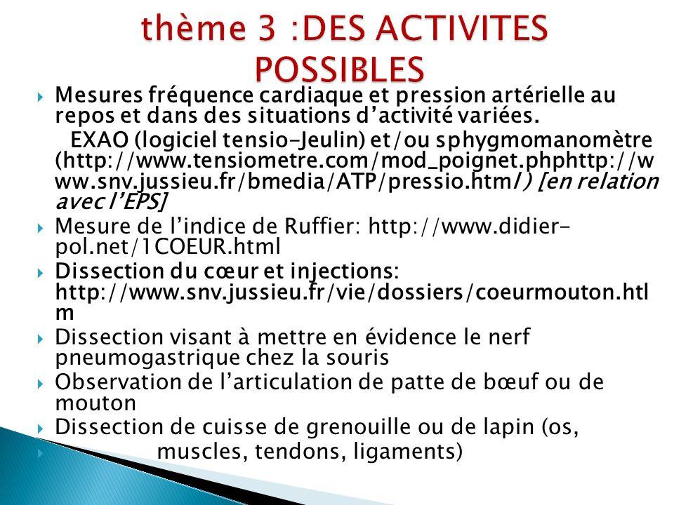 thème 3 :DES ACTIVITES POSSIBLES