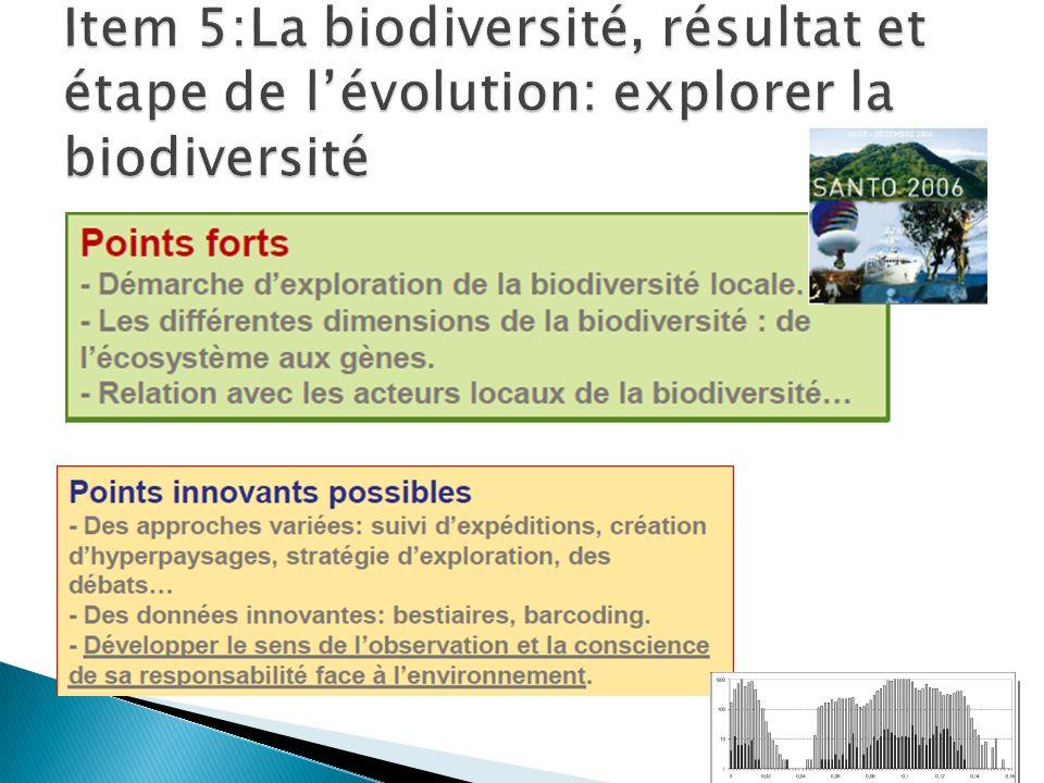 Item 5:La biodiversité, résultat et étape de l'évolution: explorer la biodiversité