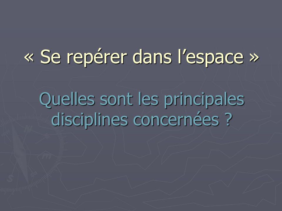 « Se repérer dans l'espace » Quelles sont les principales disciplines concernées