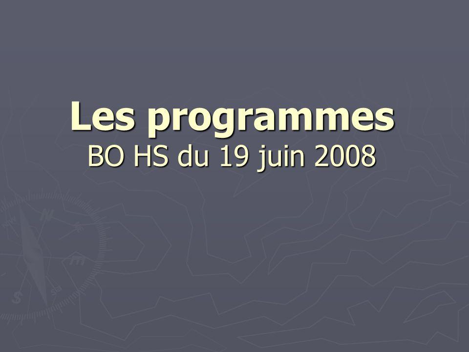 Les programmes BO HS du 19 juin 2008