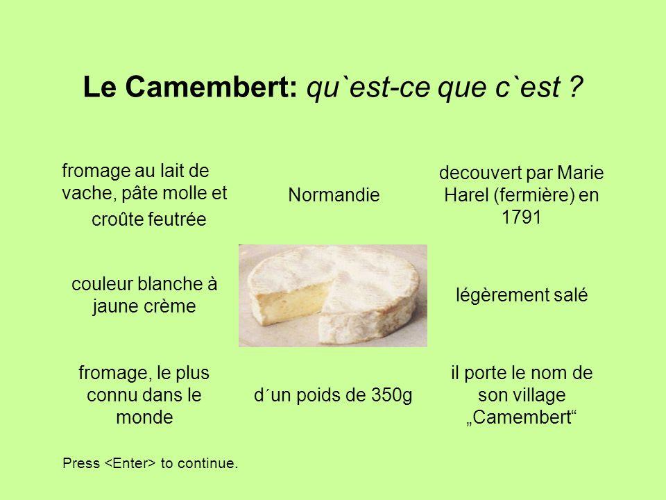 Le Camembert: qu`est-ce que c`est