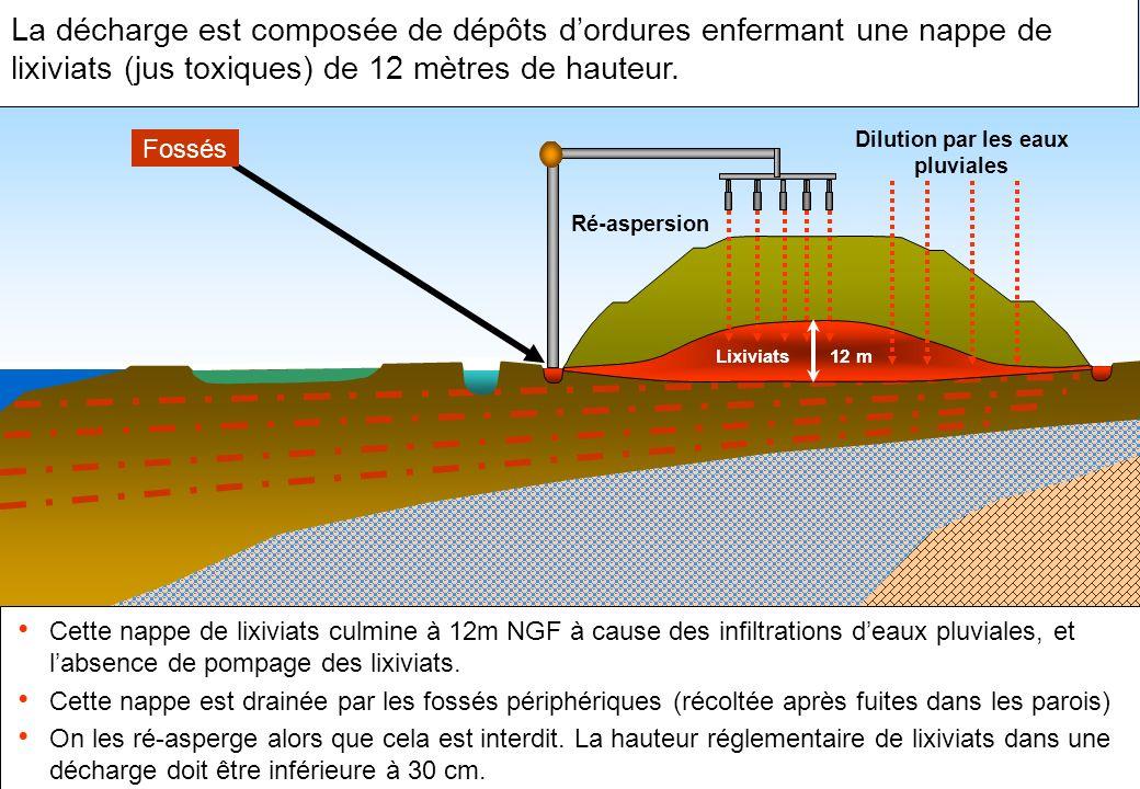 La décharge est composée de dépôts d'ordures enfermant une nappe de lixiviats (jus toxiques) de 12 mètres de hauteur.