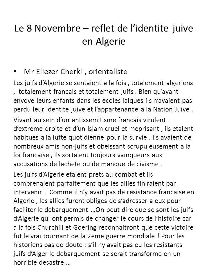 Le 8 Novembre – reflet de l'identite juive en Algerie