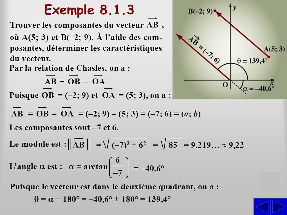 Exemple 8.1.3 S Trouver les composantes du vecteur