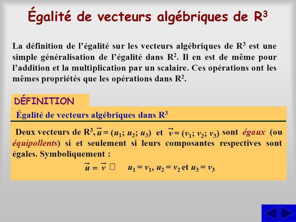 Égalité de vecteurs algébriques de R3