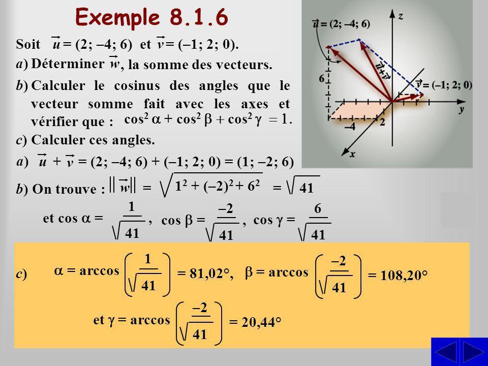 Exemple 8.1.6 S S S Soit u = (2; –4; 6) et v = (–1; 2; 0).