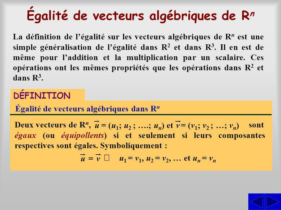 Égalité de vecteurs algébriques de Rn