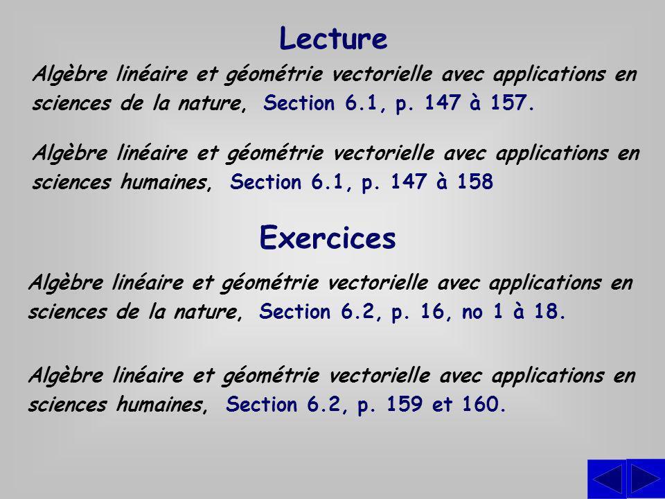 Lecture Algèbre linéaire et géométrie vectorielle avec applications en sciences de la nature, Section 6.1, p. 147 à 157.