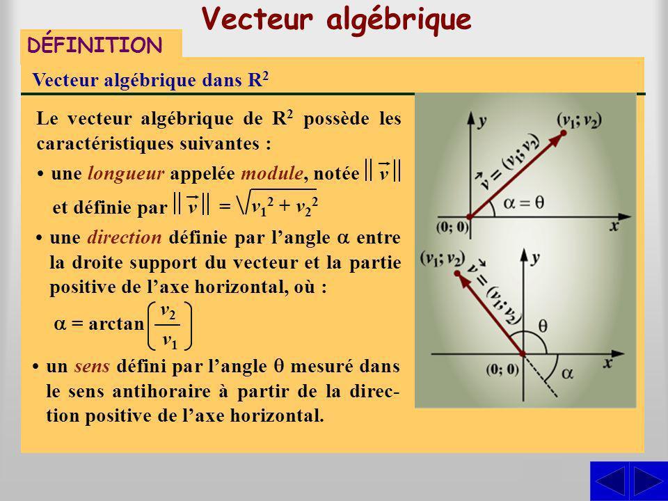 Vecteur algébrique S S S DÉFINITION Vecteur algébrique dans R2