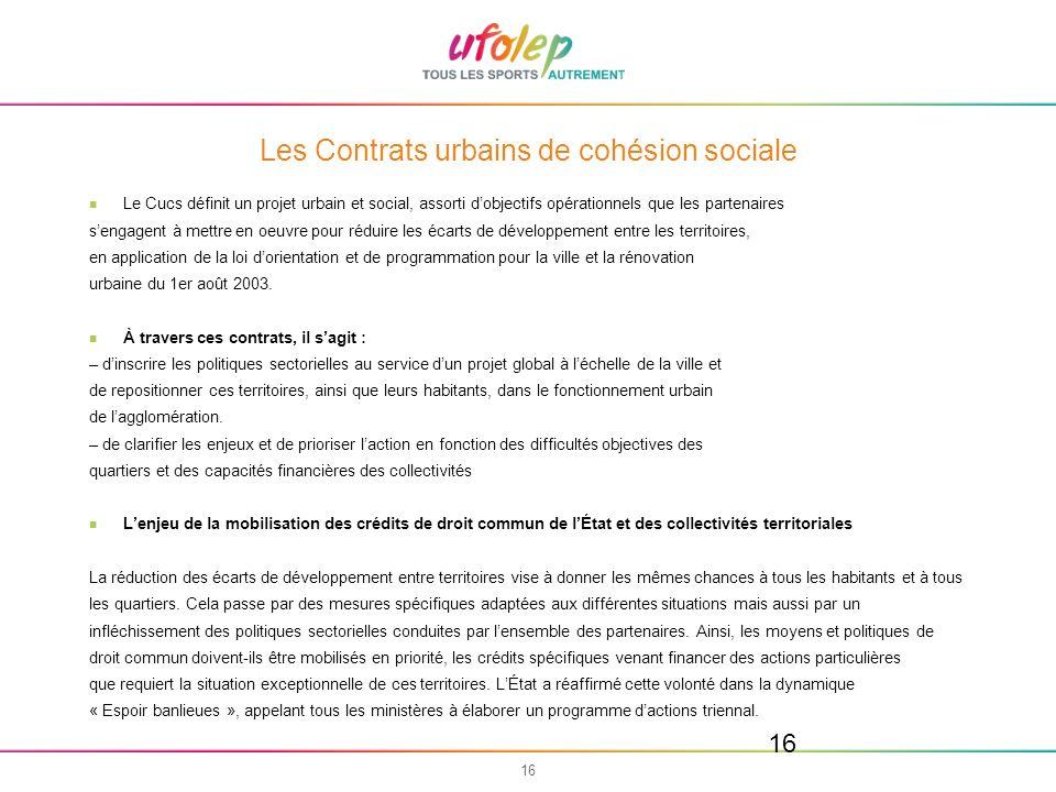 Les Contrats urbains de cohésion sociale
