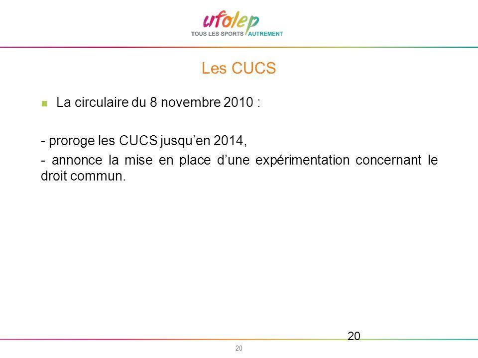 Les CUCS La circulaire du 8 novembre 2010 :
