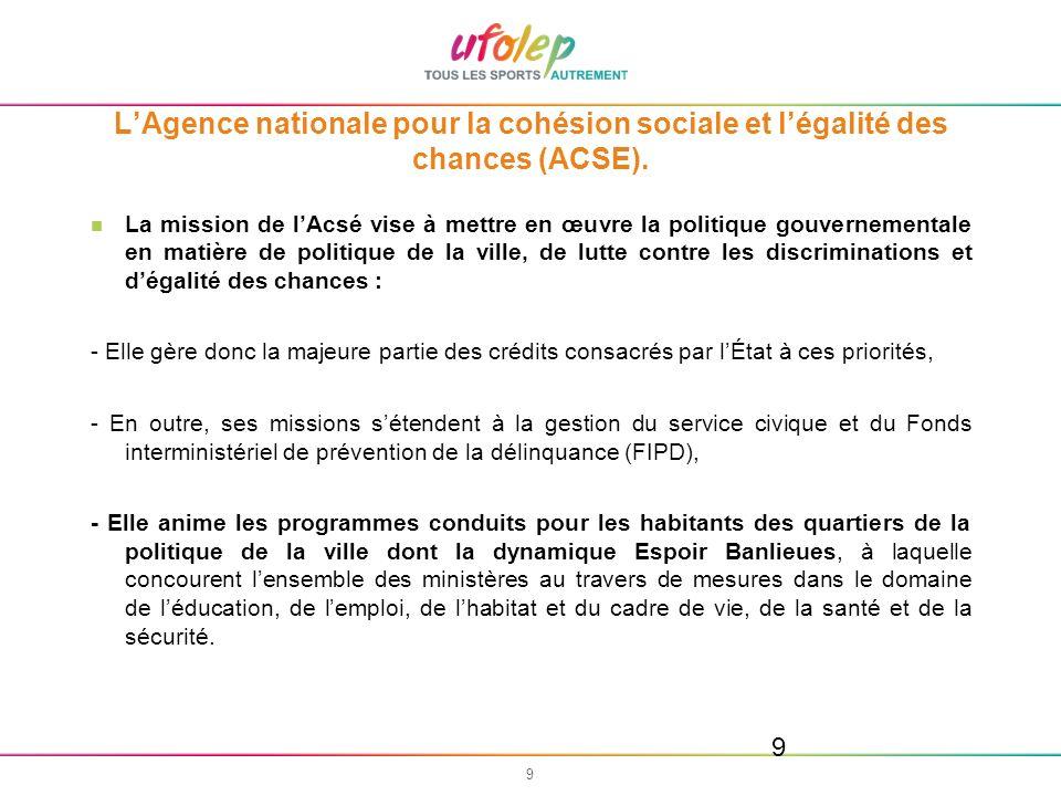L'Agence nationale pour la cohésion sociale et l'égalité des chances (ACSE).