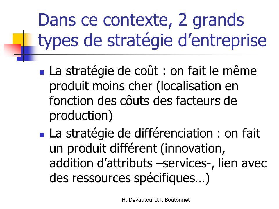 Dans ce contexte, 2 grands types de stratégie d'entreprise