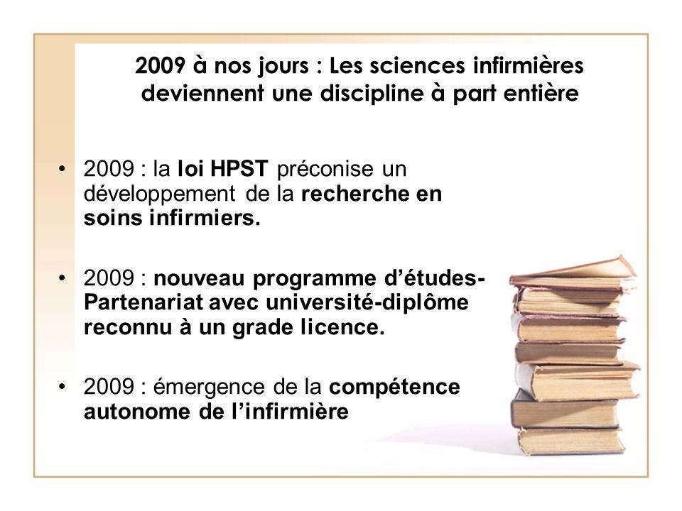 2009 à nos jours : Les sciences infirmières deviennent une discipline à part entière