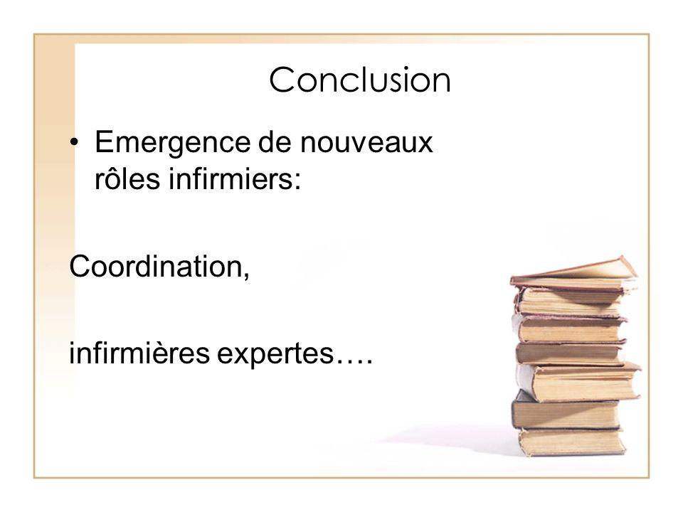 Conclusion Emergence de nouveaux rôles infirmiers: Coordination,
