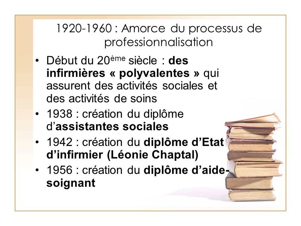 1920-1960 : Amorce du processus de professionnalisation