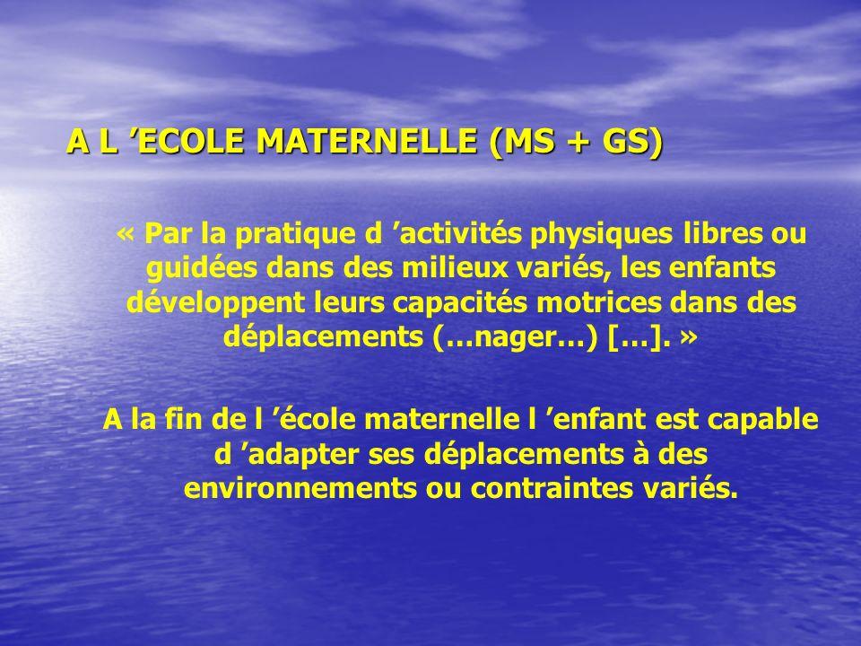A L 'ECOLE MATERNELLE (MS + GS)