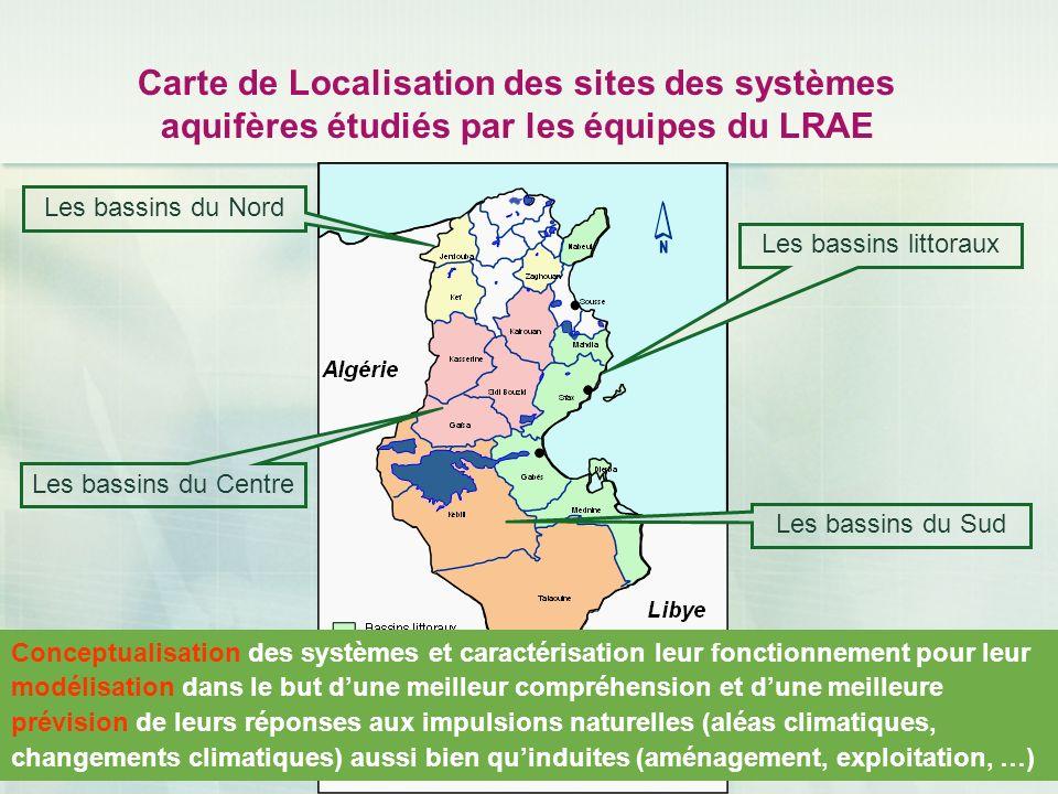 Carte de Localisation des sites des systèmes aquifères étudiés par les équipes du LRAE