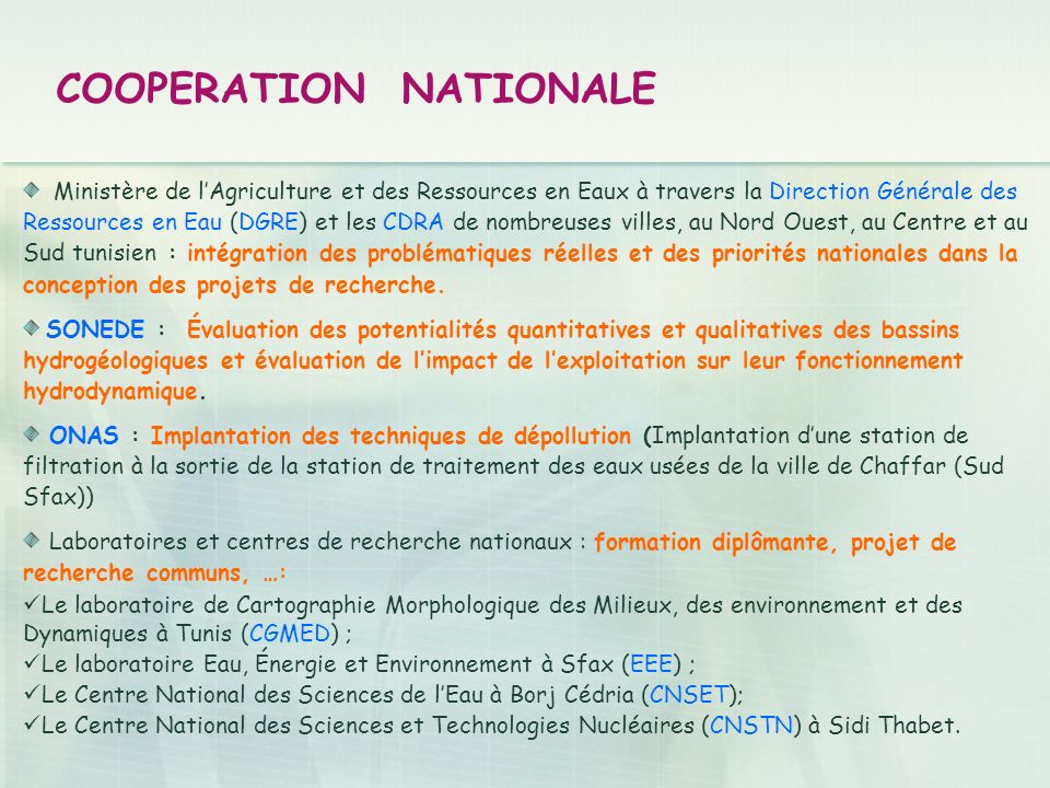 COOPERATION NATIONALE