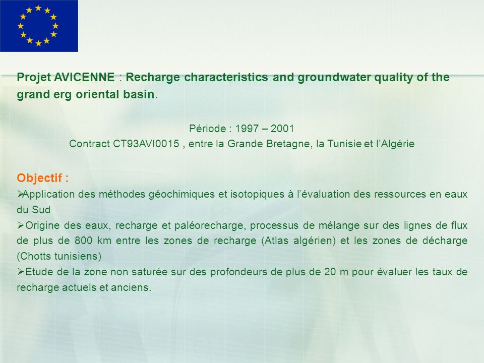 Projet AVICENNE : Recharge characteristics and groundwater quality of the grand erg oriental basin.