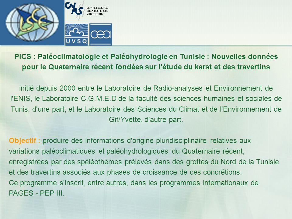 PICS : Paléoclimatologie et Paléohydrologie en Tunisie : Nouvelles données pour le Quaternaire récent fondées sur l étude du karst et des travertins