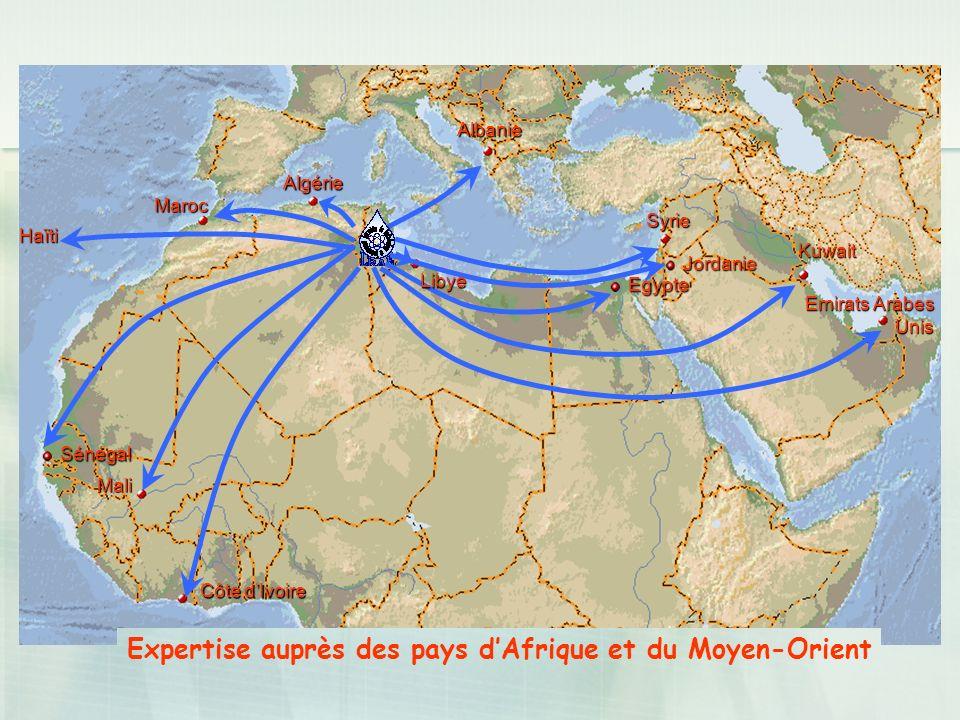 Expertise auprès des pays d'Afrique et du Moyen-Orient