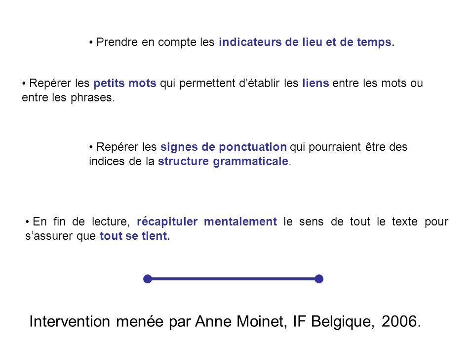 Intervention menée par Anne Moinet, IF Belgique, 2006.