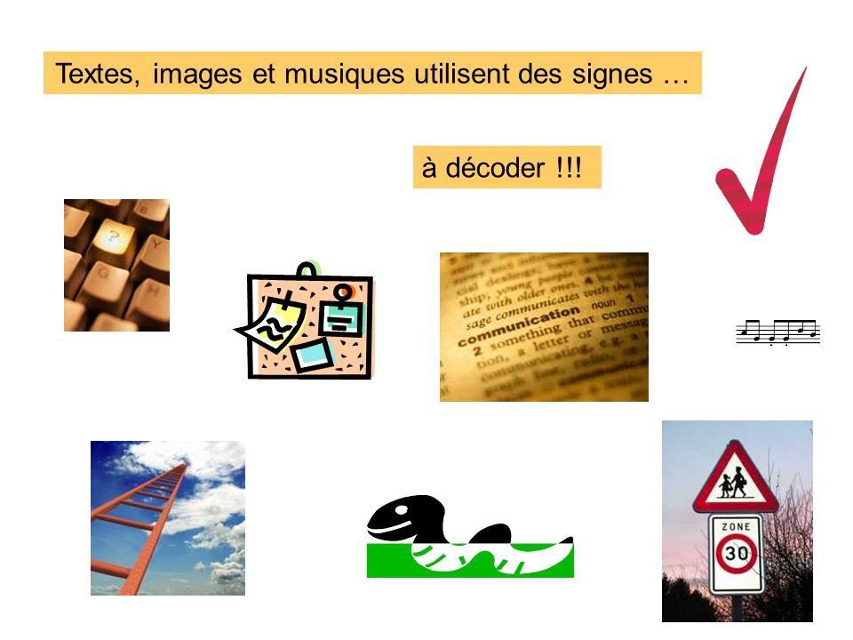 Textes, images et musiques utilisent des signes …