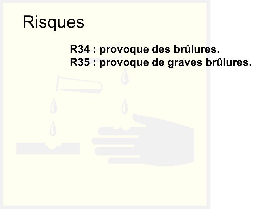 Risques R34 : provoque des brûlures.