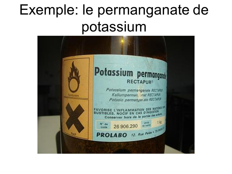 Exemple: le permanganate de potassium