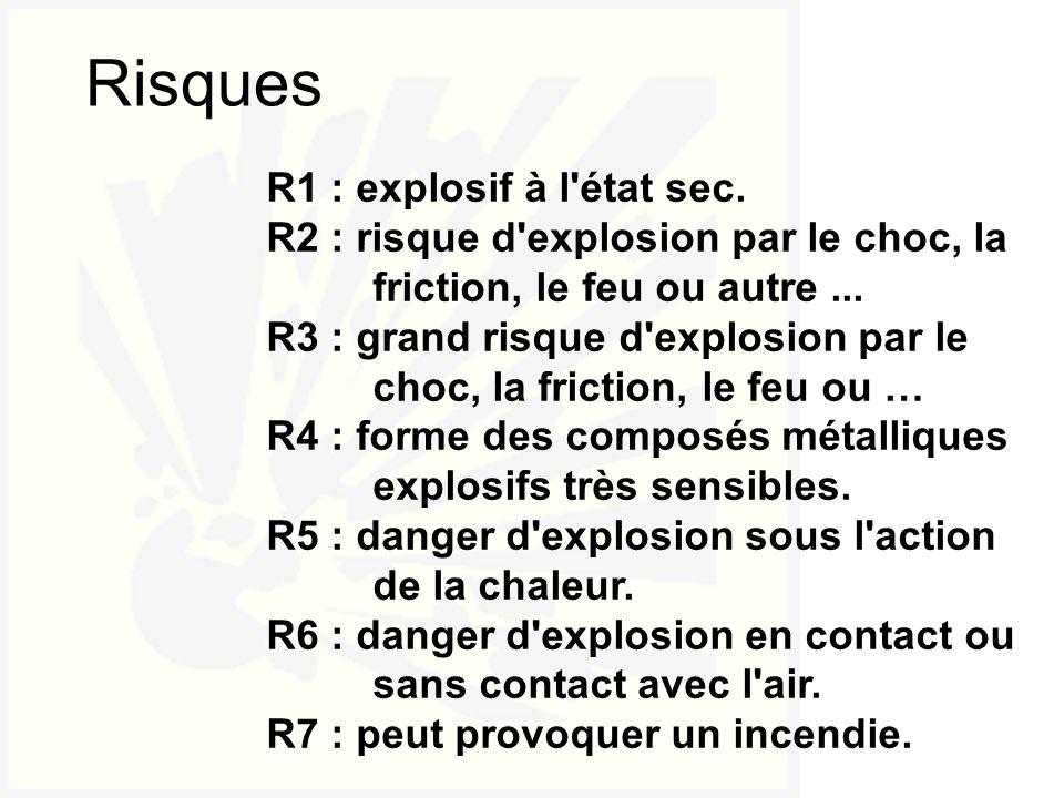 Risques R1 : explosif à l état sec.