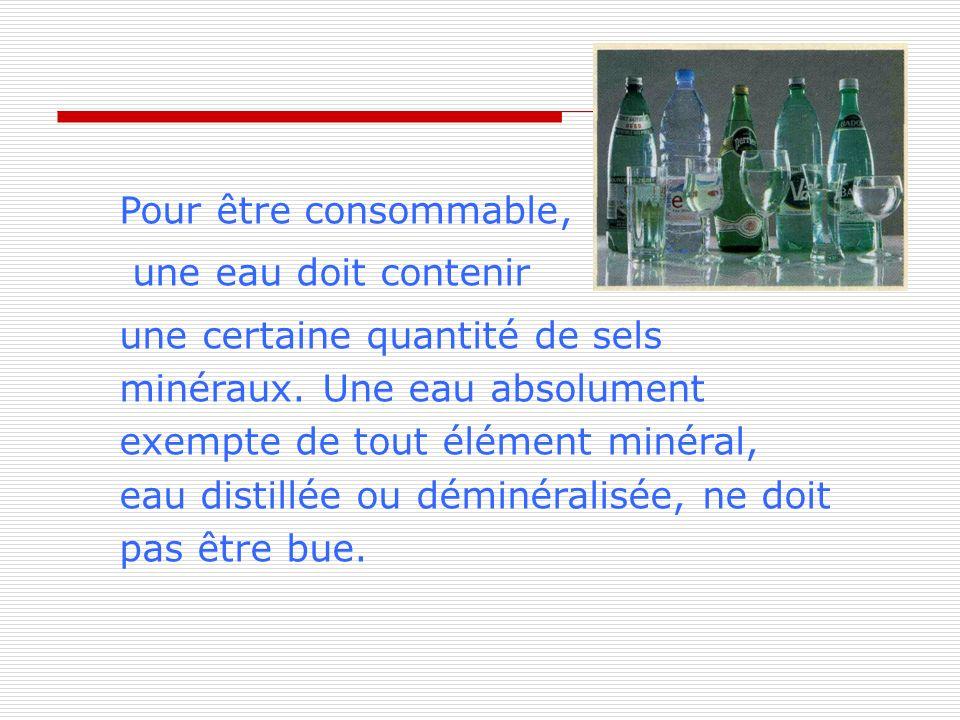 Pour être consommable, une eau doit contenir.
