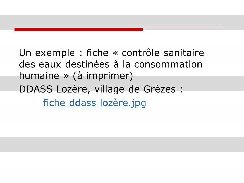 Un exemple : fiche « contrôle sanitaire des eaux destinées à la consommation humaine » (à imprimer)