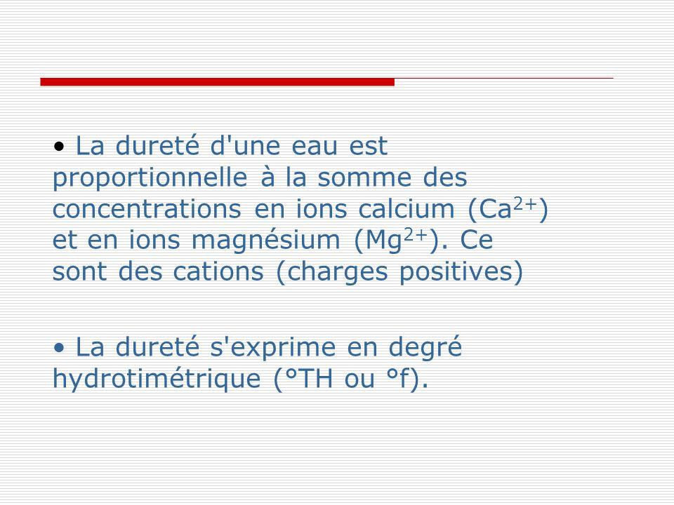 • La dureté d une eau est proportionnelle à la somme des concentrations en ions calcium (Ca2+) et en ions magnésium (Mg2+). Ce sont des cations (charges positives)