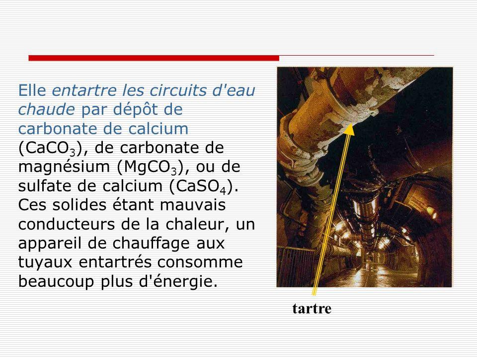 Elle entartre les circuits d eau chaude par dépôt de carbonate de calcium (CaCO3), de carbonate de magnésium (MgCO3), ou de sulfate de calcium (CaSO4). Ces solides étant mauvais conducteurs de la chaleur, un appareil de chauffage aux tuyaux entartrés consomme beaucoup plus d énergie.