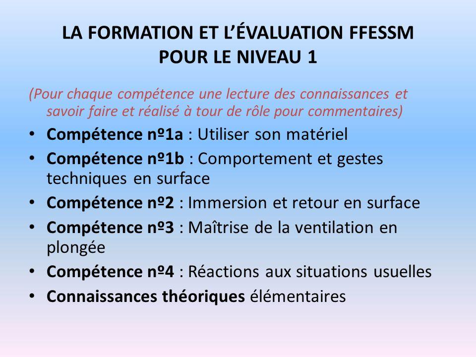 LA FORMATION ET L'ÉVALUATION FFESSM POUR LE NIVEAU 1