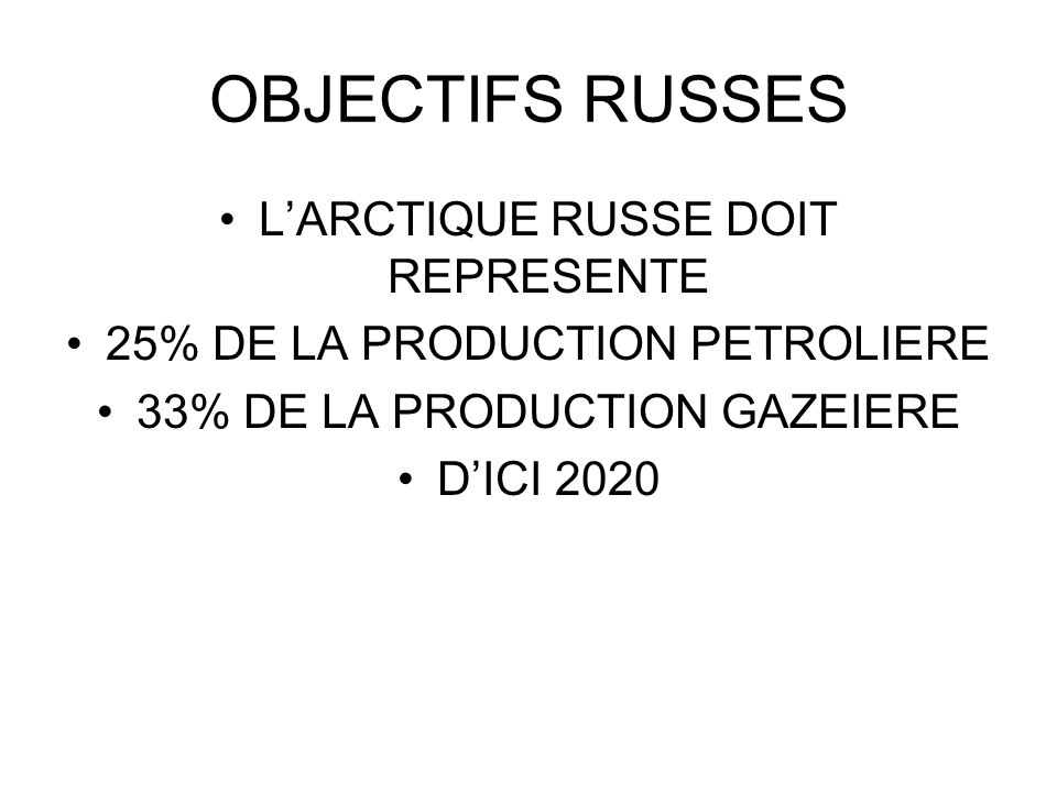 OBJECTIFS RUSSES L'ARCTIQUE RUSSE DOIT REPRESENTE