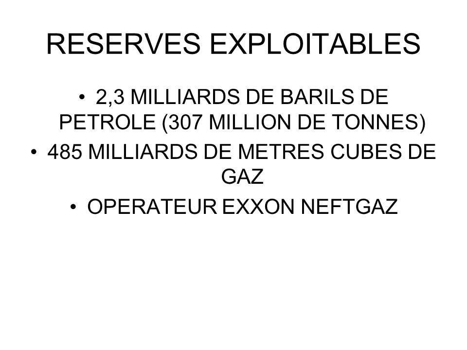 RESERVES EXPLOITABLES