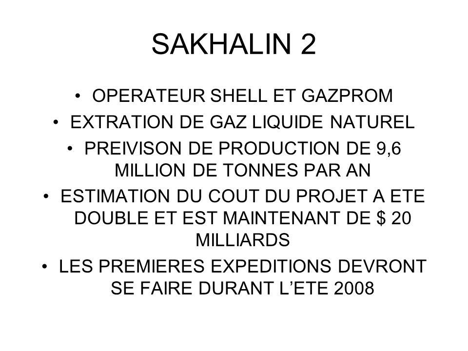 SAKHALIN 2 OPERATEUR SHELL ET GAZPROM EXTRATION DE GAZ LIQUIDE NATUREL