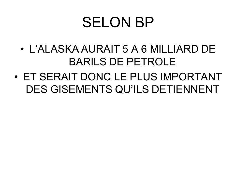 SELON BP L'ALASKA AURAIT 5 A 6 MILLIARD DE BARILS DE PETROLE