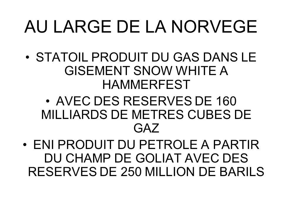 AU LARGE DE LA NORVEGE STATOIL PRODUIT DU GAS DANS LE GISEMENT SNOW WHITE A HAMMERFEST. AVEC DES RESERVES DE 160 MILLIARDS DE METRES CUBES DE GAZ.