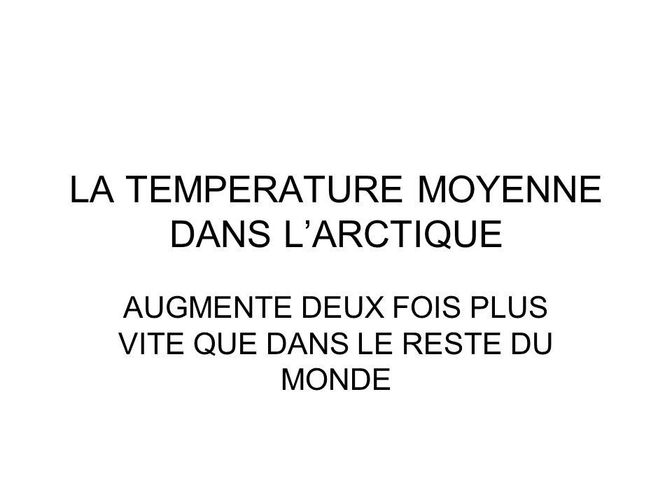LA TEMPERATURE MOYENNE DANS L'ARCTIQUE