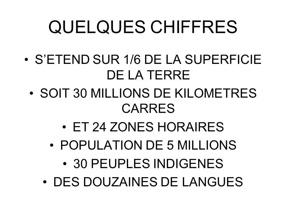 QUELQUES CHIFFRES S'ETEND SUR 1/6 DE LA SUPERFICIE DE LA TERRE
