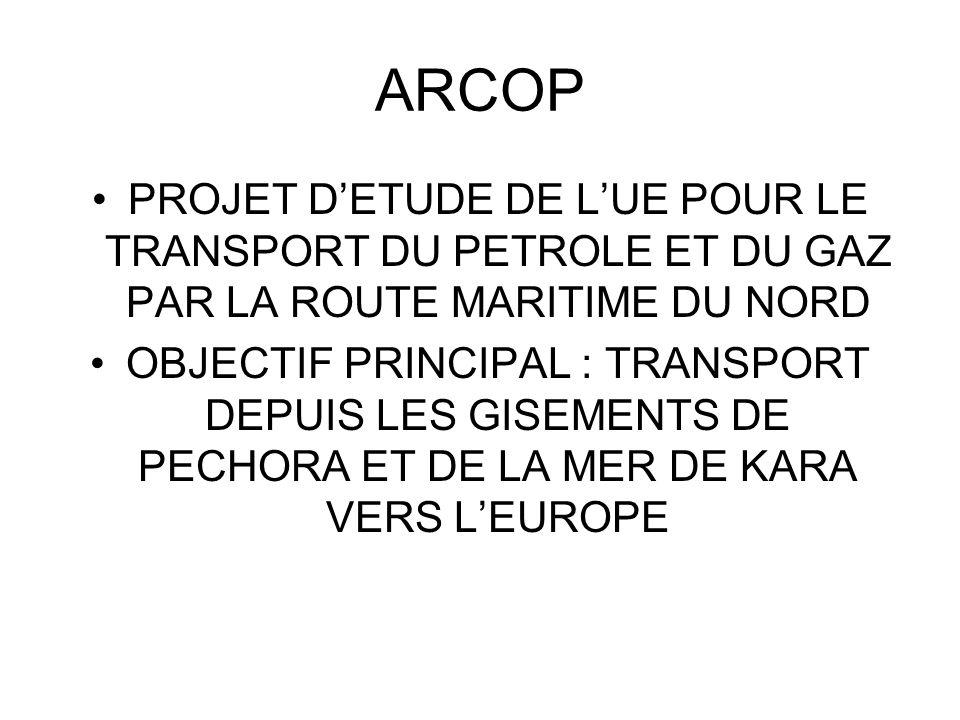 ARCOP PROJET D'ETUDE DE L'UE POUR LE TRANSPORT DU PETROLE ET DU GAZ PAR LA ROUTE MARITIME DU NORD.