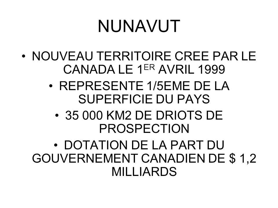 NUNAVUT NOUVEAU TERRITOIRE CREE PAR LE CANADA LE 1ER AVRIL 1999