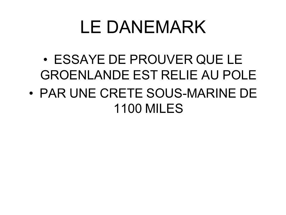 LE DANEMARK ESSAYE DE PROUVER QUE LE GROENLANDE EST RELIE AU POLE